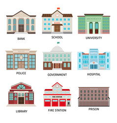 government building colored icons vector image vector image