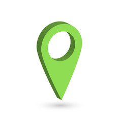 Green 3d map pointer with dropped shadow on white vector