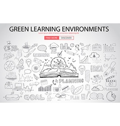 Green learning environment with doodle design vector