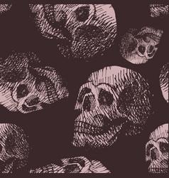hand made human skull bone cranium face retro vector image