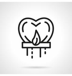 Heart sky lantern black simple line icon vector