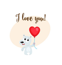 I love you card with bear holding heart shaped vector