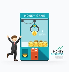 Infographic business claw game template vector