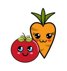 Kawaii happy tomato and carrot icon vector