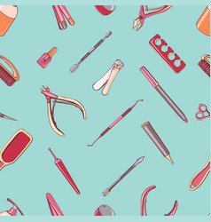 Manicure equipment seamless pattern hand drawn vector