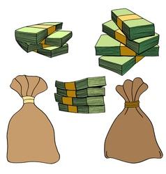Money bag with money vector