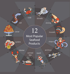 most popular seafood vector image vector image