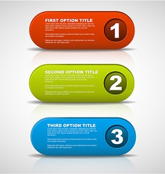 One two three - 3D progress buttons vector image vector image