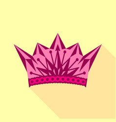 pink crown icon flat style vector image