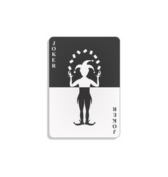 playing card with joker in black and white design vector image vector image
