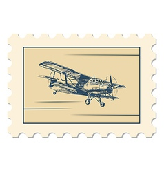 post stamp biplane vector image