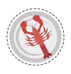 red lobster sealife top view on dish vector image