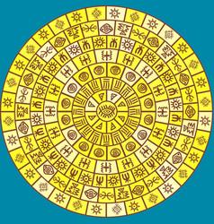 round design with ethnic symbols vector image