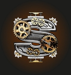 S letter with gears vector