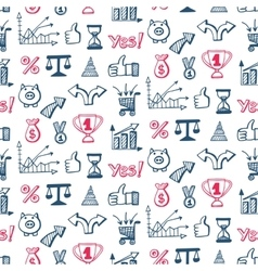 Seamless pattern with business doodles icons set vector