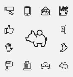 set of 12 editable shopping outline icons vector image vector image