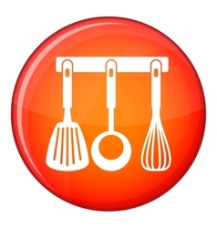 Spatula ladle and whisk kitchen tools icon vector