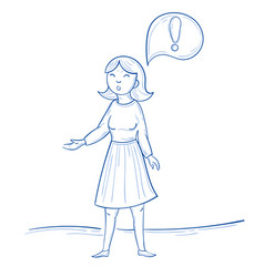 standing woman with exclamation mark thought vector image