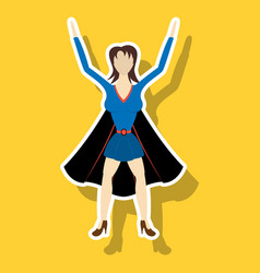 super hero woman sticker poster in comic style vector image vector image