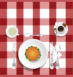Table for lunch with hamburger set one vector