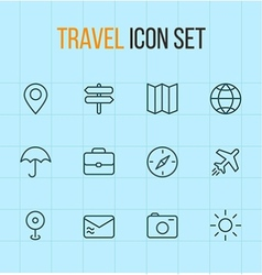 travel outline icon set vector image vector image