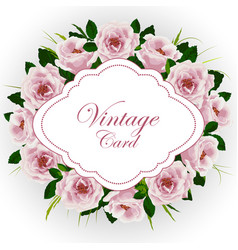 vintage card with roses vector image vector image