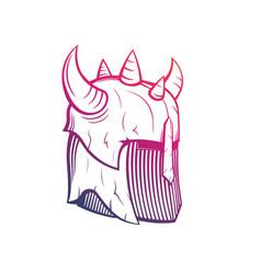 Warrior helmet with horns medieval armor vector
