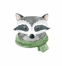 Watercolor raccoon portrait vector
