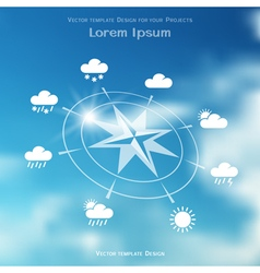 Wind rose and weather icons on blurred background vector image