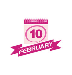 10 february calendar with ribbon vector