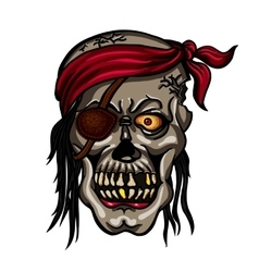 Danger pirate skull in red bandane vector