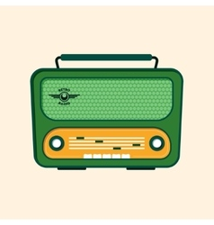 Green retro radio flat design vector