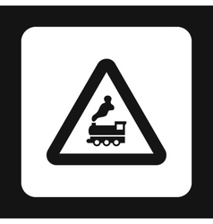 Sign railroad icon simple style vector