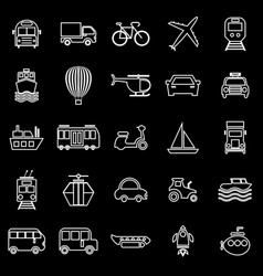 Transportation line icons on black background vector