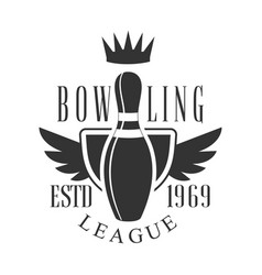 Bowling league vintage label black and white vector