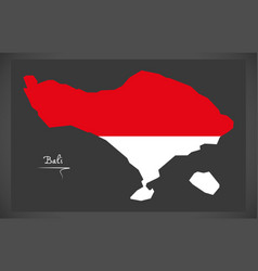 Bali indonesia map with indonesian national flag vector
