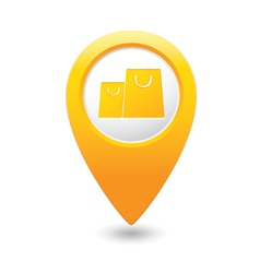 Bag icon map pointer yellow vector