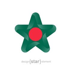 Star with bangladesh flag colors and symbols vector