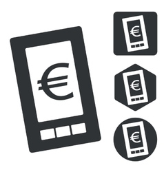 Euro screen icon set monochrome vector