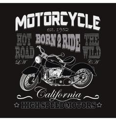 Motorcycle racing typography california motors vector