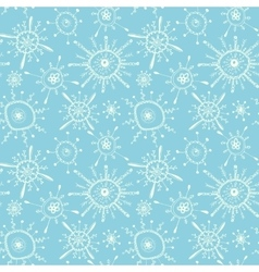 Seamless pattern with white hand drawn snowflakes vector