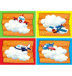 Banner design with airplanes in the sky vector