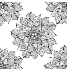Mandala black and white round ornament vector