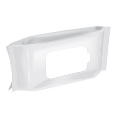 Blank wet wipes packaging mock up 3d whitw vector