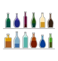 Bottles with drinks vector image vector image