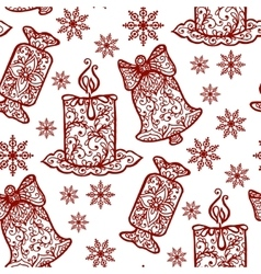 Christmas collection Seamless with icons of vector image