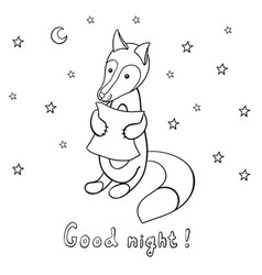 cute cartoon fox with pillow vector image vector image