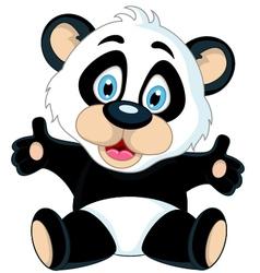 cute cartoon panda posing vector image