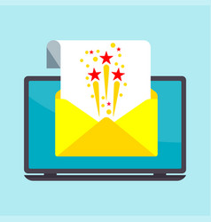 email on laptop screen vector image