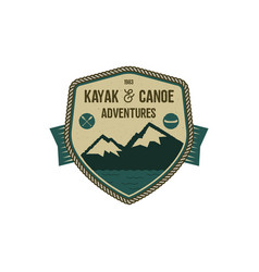 kayak and canoe adventures badge scout adventure vector image